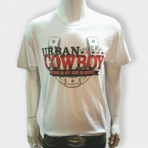 Urban Cowboy White with Red Horseshoe